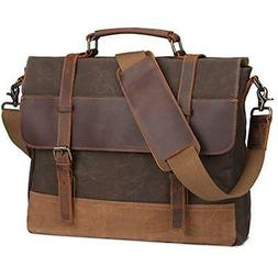S-ZONE Large Messenger Bag, Vintage Waxed Canvas Satchel Lea