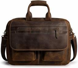 S-ZONE Leather Briefcase Mens Messenger Shoulder Bag for 16