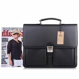 S-ZONE Men Lawyer Business PU Leather Flapover Briefcase Mes