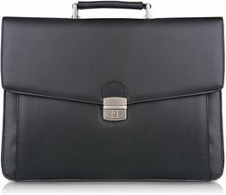 S-ZONE Mens Leather Flapover Briefcase Messenger Bag fit 14