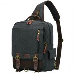 S-ZONE One Strap Sling Canvas Cross Body 13-inch Laptop Mess