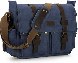 S-ZONE Vintage Camera Messenger Bag Leather Canvas DSLR Shou