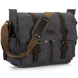 S-ZONE Vintage Canvas Camera Bag DSLR SLR Messenger Bag Leat