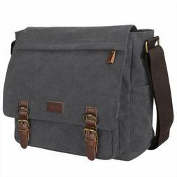 S-Zone Vintage Canvas Laptop Messenger Bag School Shoulder B