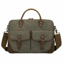 S-ZONE Vintage Canvas Leather Messenger Bag Briefcase 15.6-i