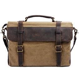 S-ZONE Vintage Canvas Leather Messenger Traveling Briefcase