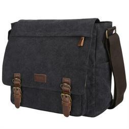 S-ZONE Vintage Canvas Messenger Bag School Shoulder for 13.3