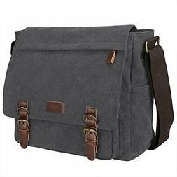 S-ZONE Vintage Canvas Messenger Bag School Shoulder Bag for