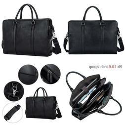 S-ZONE Vintage Genuine Leather Briefcase Messenger Bag 15.6'