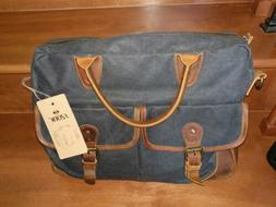 "S-ZONE Vintage Look Canvas Leather 15.6"" Laptop Messenger Sh"