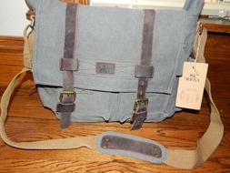 S-ZONE Vintage Style Canvas & Leather Messenger Traveling Br