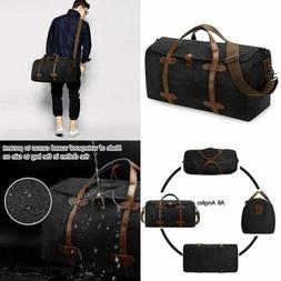 S ZONE Waterproof Waxed Canvas Leather Trim Travel Tote Duff