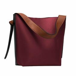 S-ZONE Women's Contrast Color Leather Bucket Bag Tote Should