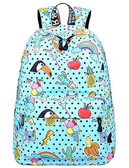 School Bookbags for Girls, Cute Rainbow Backpack College Bag