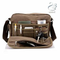 Scione Canvas Multifunction Messenger Shoulder Bags Solid Br