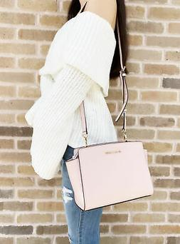 MICHAEL KORS SELMA MEDIUM MESSENGER CROSSBODY BAG $328 PINK