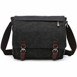 Sechunk Canvas Leather Messenger Bag Shoulder Bag Cross Body