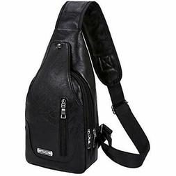 sling bag lightweight pu leather casual daypack