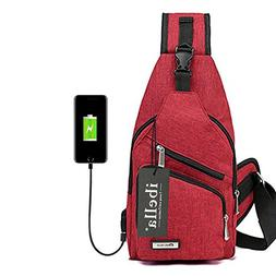 Sling Bag with USB Charging Port Crossbody Canvas Chest Bag