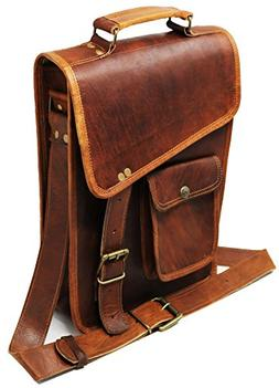 "Jaald 11"" Stylish Men's Genuine Leather Brown Shoulder Messe"