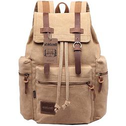 Berchirly Vintage Canvas Leather Backpack Hiking Daypacks Co