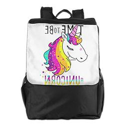 Rongyingst Time To Be Unicorn Messenger Bag Shoulder Backpac
