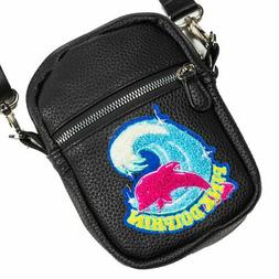 Pink Dolphin Unisex Shimmer Chenille Sling Bag Black Apparel