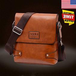US Men Leather Briefcase Business Messenger Shoulder Handbag