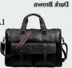US Men Leather Briefcase Messenger Business Laptop Shoulder