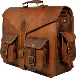 US Mens Brown Genuine Leather Briefcase Laptop Handbag Busin