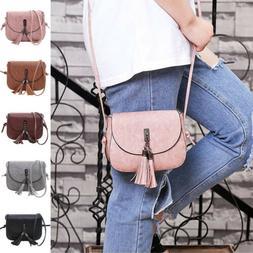 US Women Tassel Handbag Satchel Messenger Cross Body Purse L