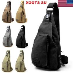 USA Men Canvas Bag Pack Travel Hiking Cross Body Messenger S