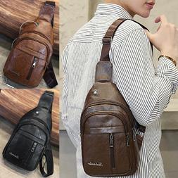USA Men Leather Shoulder Bag Sling Chest Pack Crossbody Hand