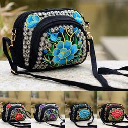 USA Women Mini Shoulder Bag Embroidery Wallet Messenger Bag