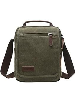 Vertical Canvas Messenger Bag, Mygreen Unisex Casual leather