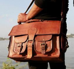 Vintage Brown Messenger Shoulder Laptop Bag Briefcase New Me