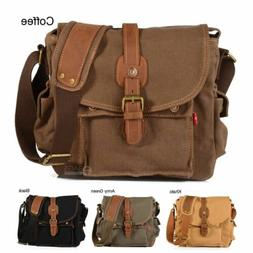 Vintage Canvas Leather Cross-Body Satchel School Military Sh