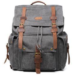 Kattee Vintage Canvas Leather Hiking Travel Backpack Rucksac