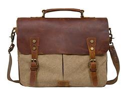 "ECOSUSI Unisex Vintage Canvas Leather 14"" Laptop Messenger B"