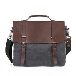 "ECOSUSI Vintage Canvas Leather 15.6"" Laptop Messenger Bag Me"