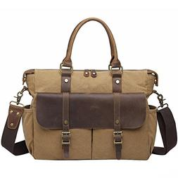 Vintage Canvas Leather Shoulder Handbags For Men, Berchirly