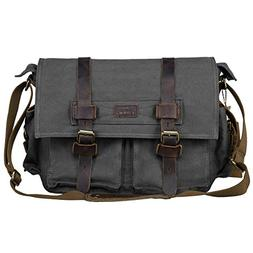 S-ZONE Vintage Canvas Genuine Leather Trim DSLR SLR Camera S