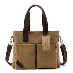 WITERY Unisex Vintage Canvas Leather Trim Travel Tote Messen