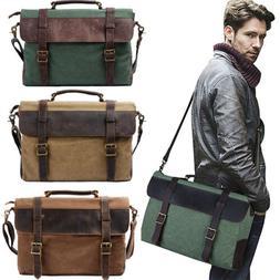 Vintage Canvas Men's 15.6 '' Laptop Briefcase Bag Messenger