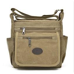 Qflmy Vintage Canvas Messenger Bag Handbag Crossbody Shoulde