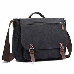 Vintage Canvas Messenger Bag School Shoulder Bag for 13.3-15