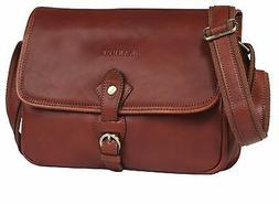 Banuce Vintage Full Grains Italian Leather Small Messenger B
