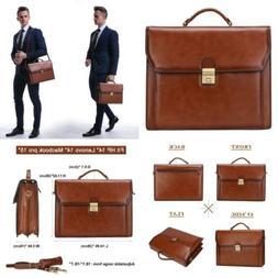 Vintage Genuine Leather Briefcase Lock Lawyer Attache Case L