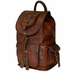 Vintage Genuine Leather Laptop Backpack Rucksack Messenger B
