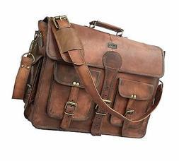 DHK 18 Inch Vintage Handmade Leather Messenger Bag for Lapto